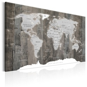 Tablou - World Map: Wooden World