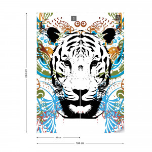 Tiger Pyschedelic Design Photo Wallpaper Wall Mural