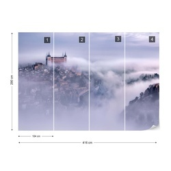 Toledo City Foggy Morning Photo Wallpaper Mural