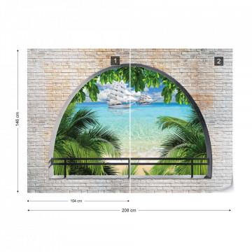 Tropical Beach Window View Photo Wallpaper Wall Mural