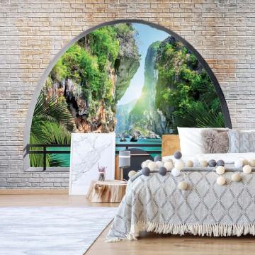 Tropical Lagoon Window View Photo Wallpaper Wall Mural