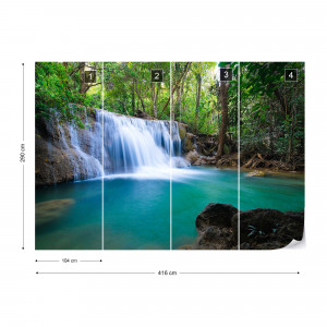 Turquoise Forest Lake Waterfall Photo Wallpaper Wall Mural
