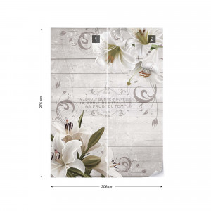 Vintage Chic Flowers Wood Planks French Script Photo Wallpaper Wall Mural