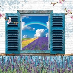 Vintage Design Window View Lavender Fields Photo Wallpaper Wall Mural