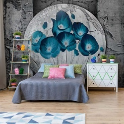 Vintage Flowers Blue Grey Photo Wallpaper Wall Mural