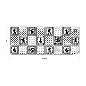 Vintage Tiles Pattern Black And White Photo Wallpaper Wall Mural