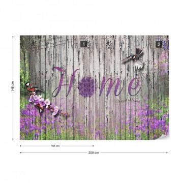 "Vintage Wood Planks Design Lavender ""Home"" Photo Wallpaper Wall Mural"