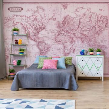 Vintage World Map Pink