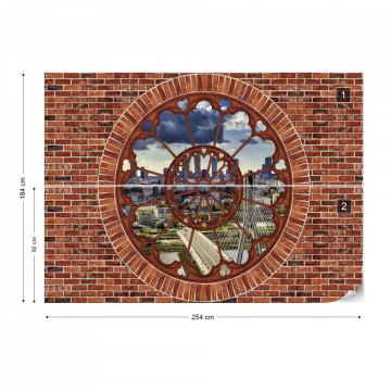 Warsaw City Skyline Ornamental Window View Brick Wall Photo Wallpaper Wall Mural