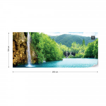 Waterfall Lake Nature Photo Wallpaper Wall Mural