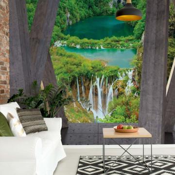 Waterfalls 3D Modern View Concrete Photo Wallpaper Wall Mural