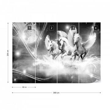 Winged Horses Pegasus Black And White Photo Wallpaper Wall Mural