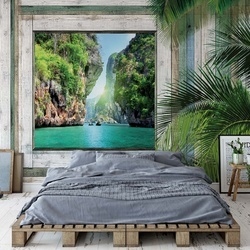 Wood Plank Window Tropical Lagoon View Photo Wallpaper Wall Mural