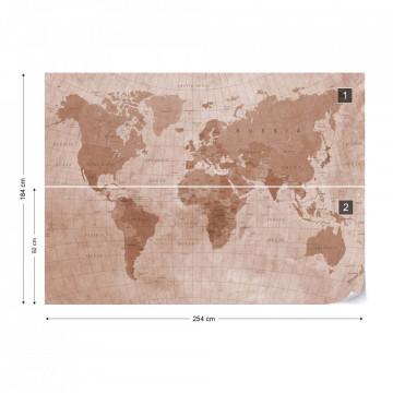 World Map Textured Sepia