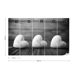 3 Hearts Black And White Photo Wallpaper Wall Mural