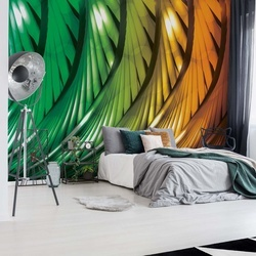 3D Abstract Art Green And Orange Photo Wallpaper Wall Mural