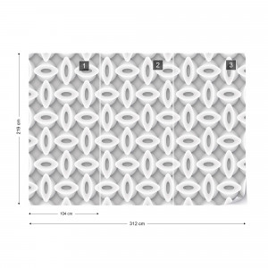 3D Abstract Pattern Grey And White Photo Wallpaper Wall Mural