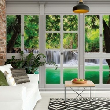 3D Door View Forest Waterfall Photo Wallpaper Wall Mural