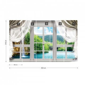 3D Door View Waterfall Lake Forest Photo Wallpaper Wall Mural