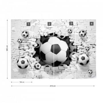 3D Footballs Bursting Through Brick Wall Photo Wallpaper Wall Mural