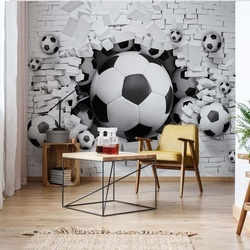3D Footballs Bursting Through Brick Wall Photo Wallpaper Wall Mural