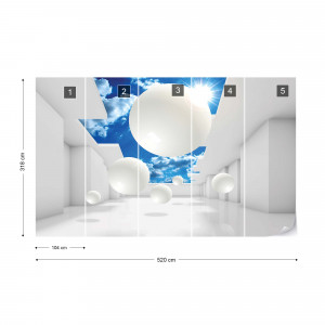 3D Modern Architecture Sky White Photo Wallpaper Wall Mural