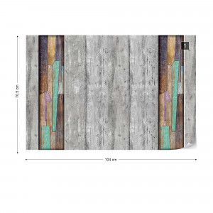3D Painted Wood Planks Concrete Photo Wallpaper Wall Mural