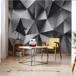 3D Polygon Texture Dark Grey Photo Wallpaper Wall Mural