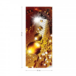 3D Puzzle Tunnel Modern Design Gold Photo Wallpaper Wall Mural
