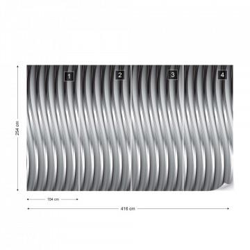 3D Silver Metal Design Photo Wallpaper Wall Mural