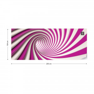 3D Swirl Tunnel Pink And White Photo Wallpaper Wall Mural
