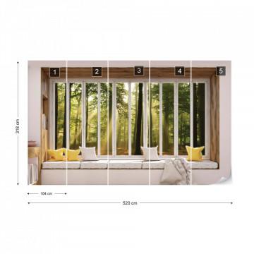3D Window View Sunlight Forest Photo Wallpaper Wall Mural