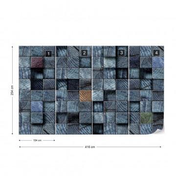 3D Wooden Blocks Texture Blue Photo Wallpaper Wall Mural