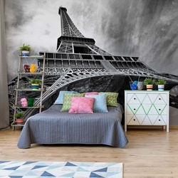 Black And White Eiffel Tower Paris Photo Wallpaper Wall Mural