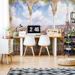 Floral Paris View Photo Wallpaper Wall Mural