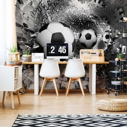 3D Footballs Puzzle Tunnel Silver Photo Wallpaper Wall Mural