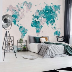 Watercolour World Map Turquoise & Pink