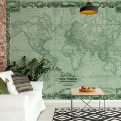 Vintage World Map II Green