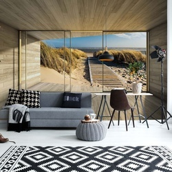 Beach Path 3D Modern Window View Photo Wallpaper Wall Mural