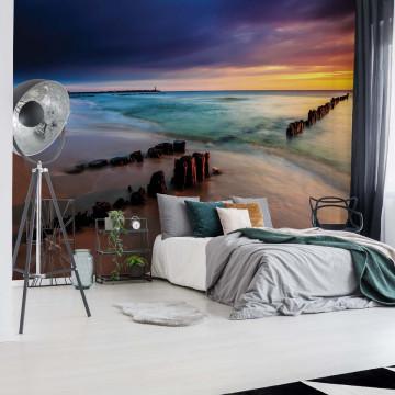 Beach Sunset Sea Photo Wallpaper Wall Mural