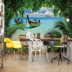 Beach Tropical Paradise Boat Photo Wallpaper Wall Mural