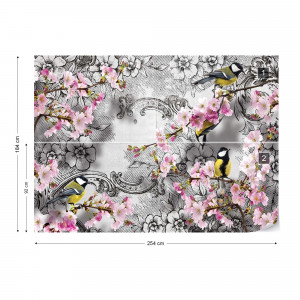 Birds And Cherry Blossom Flowers Vintage Design Photo Wallpaper Wall Mural