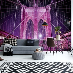 Brooklyn Bridge New York Purple Photo Wallpaper Wall Mural
