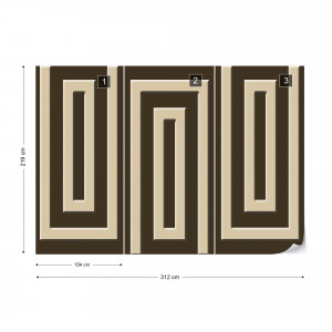 Brown And Beige Geometric Pattern Photo Wallpaper Wall Mural