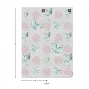 Butterflies And Roses Pattern Photo Wallpaper Wall Mural