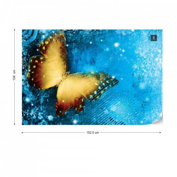 Butterfly Blue Photo Wallpaper Wall Mural