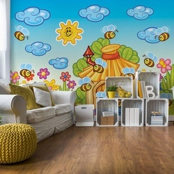 Cartoon Bees And Sunshine Photo Wallpaper Wall Mural