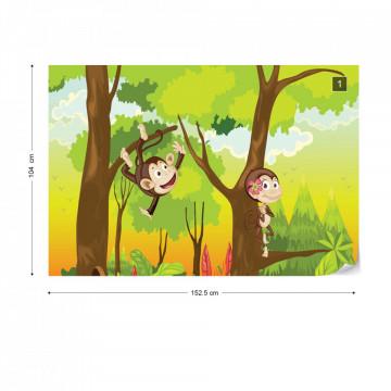 Cartoon Monkeys Photo Wallpaper Wall Mural
