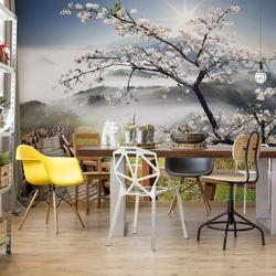 Cherry Blossom Mountain Path Photo Wallpaper Wall Mural