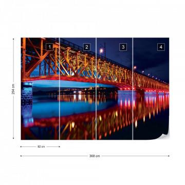 City Bridge Water Reflections At Night Photo Wallpaper Wall Mural
